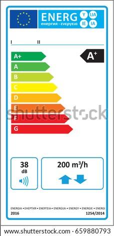 Bidirectional ventilation unit (BVU) new energy rating graph label in vector.