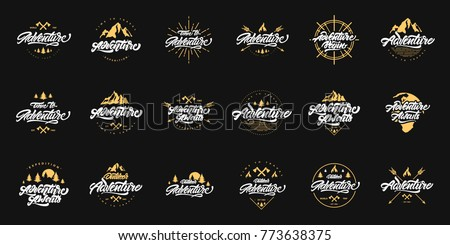 Big Adventure lettering set logos with gold illustrations. Vintage logotype with mountains, bonfires and arrows. Vector for your design.