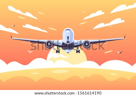 big airplane taking off with