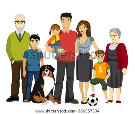Big and Happy Family vector illustration. All family together.