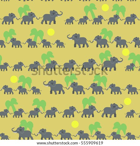 Big and small elephants. Elephant family. Cartoon seamless pattern.