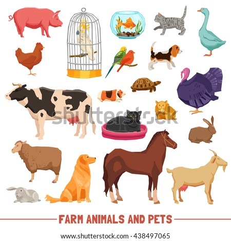 Shutterstock Big and small farm animals birds and home pets on white background flat isolated vector illustration