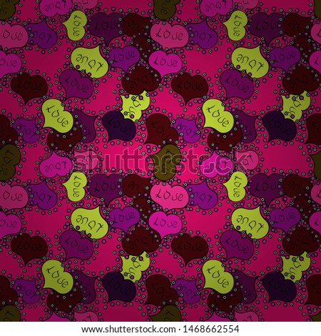 Big and small hearts with swirls in black, brown and magenta colors. Seamless Valentine':s Day with watercolor heart outlines. Vector illustration.