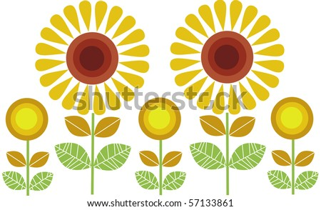 big and small sunflowers row, vector illus