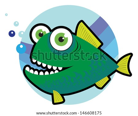 Big angry fish cartoon vector illustration