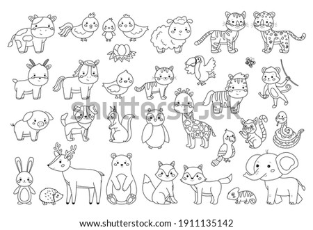 Big animals set for coloring book. Outline vector illustration for children. Cute cartoon characters. Farm, forest and jungle animals.
