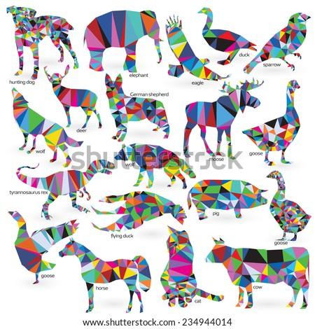 big animals set triangle style