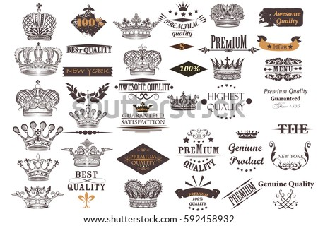 Big antique collection of vector crowns and labels for vintage design