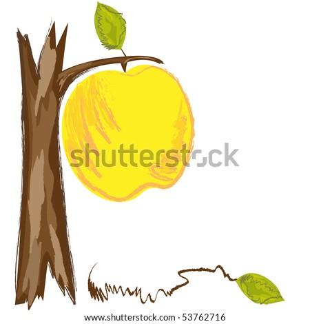 Big apple on the tree. Vector