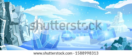 Big arctic panorama background. Stone and icy rocks in snow desert. North Pole or South Pole.