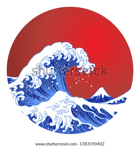 Big Asian ocean wave, red sun and the mountain illustration. Ocean of Kanagawa.Isolated on red sun background.