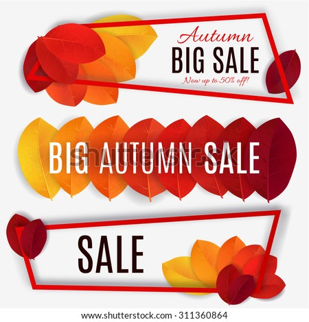 Big Autumn sale. Fall sale design. Three banners collection. Can be used for flyers, banners or posters. Vector illustration with colorful autumn leaves