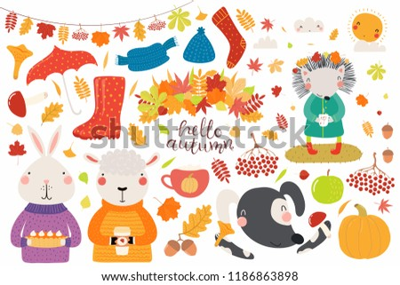 stock-vector-big-autumn-set-with-cute-animals-sheep-bunny-dog-hedgehog-leaves-food-isolated-objects-on