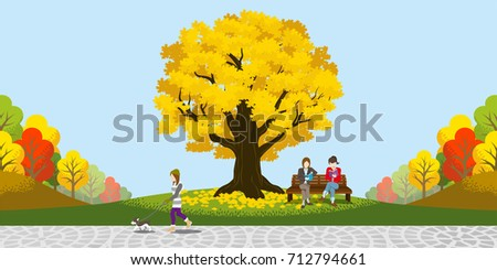 Big Autumn tree in the park