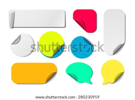 Big Awesome Set of Isolated Vector Labels. Colorful Paper Tags Collection. Blank Office Fold Stickers.