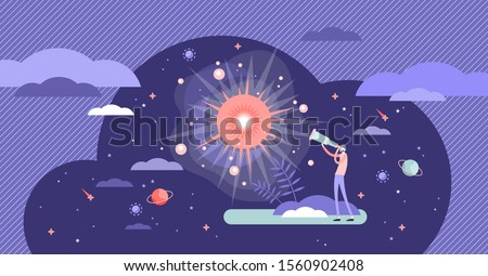 Big bang theory exploration flat tiny person concept vector illustration. Looking in telescope to the history of universe. Science facts and knowledge data. Cosmos research with human curiosity drive.
