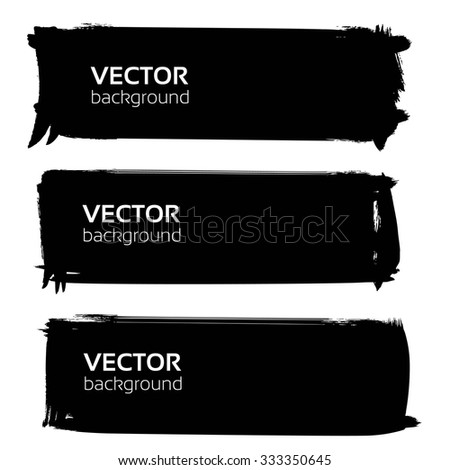 Big banners for text from black textured strokes isolated on white background