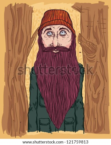 big beard - stock vector