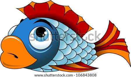big beautiful fish with red fins (vector illustration)