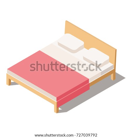 Big Bed for Two or One Person with Comforter and pillows.  Furniture for the Bedroom. Vector Illustration in Isometric view. 3D Bed isolated on white background