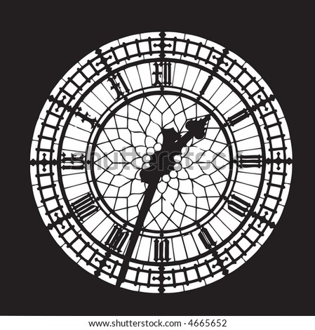 Big Ben black and white vector - stock vector