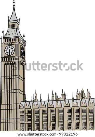 Big Ben in London - stock vector