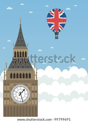 big ben in the clouds with union jack hot air balloon