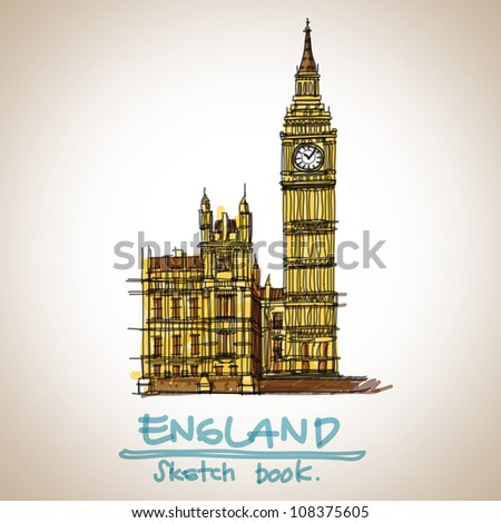Big ben landmark : sketchbook vector - stock vector