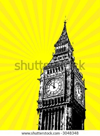 big ben - london - uk - vector poster