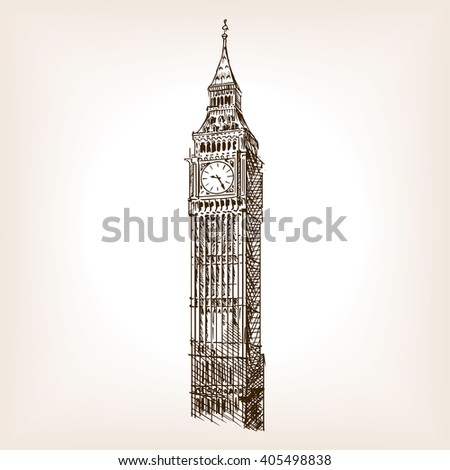 big ben tower sketch style...