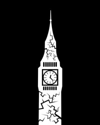 Big ben with french colors and cracks - decline, decay, problems and failure leading to collapse of landmark of Great Britain and England. Vector illustration