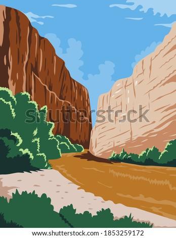 Big Bend National Park of Rio Grande Río Bravo in Chihuahuan Desert Texas WPA Poster Art Color Stockfoto ©