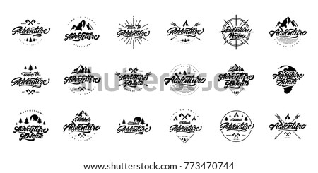 Big black and white Adventure lettering set logos. Vintage logotype with mountains, bonfires and arrows.  Vector logos for your design.