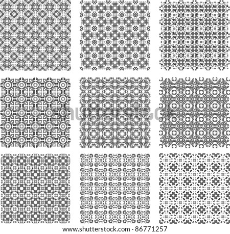 Big black and white plaid patterns set vector background