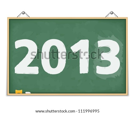 Big blackboard with number 2013, vector eps10 illustration