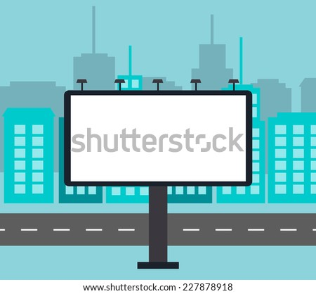 Big blank billboard in the city near road vector illustration