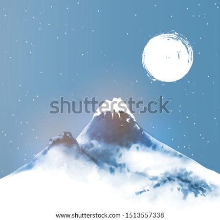 big blue mountain in snow and