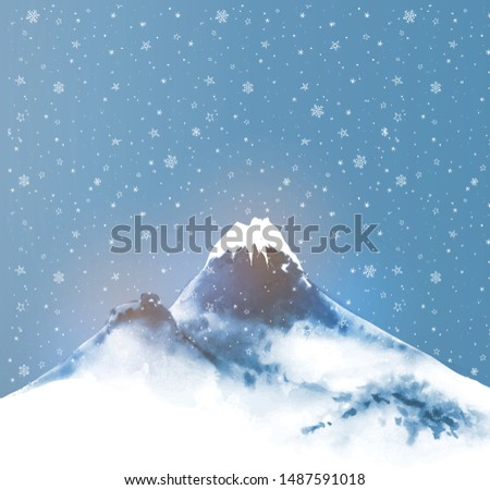big blue mountain  night sky