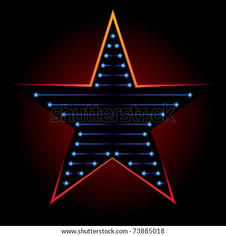 Big blue star on black background with red backlight