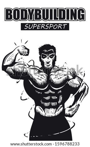 Big bodybuilder shows off the bicep cover of a Superhero sport comic book. Gym sport poster.
