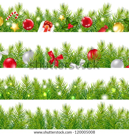 Big Borders Set With Christmas Tree, With Gradient Mesh, Vector Illustration