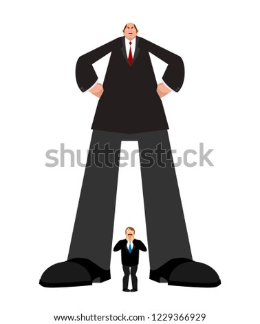 Big boss and small subordinate. Huge businessman and little worker. great chief Vector illustration