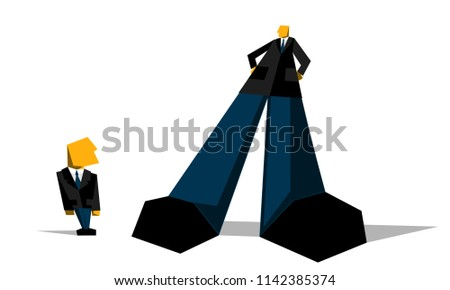 Big boss businessman look down on small subordinate. Demonstration of superiority, excess of official authority, abuse of office. Vector illustration