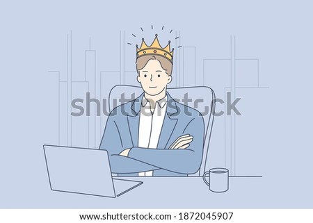 Big boss, confident businessman, director concept. Young businessman ceo in golden crown head sitting in office at laptop and feeling successful employer illustration  Foto d'archivio ©