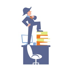 Big boss in business suit and napoleon hat standing on office table. Successful businessman banner, isolated vector illustration on white background. Office life. Business people design