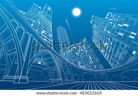 big bridge  night city on...