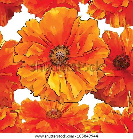 big bright red poppy seamless