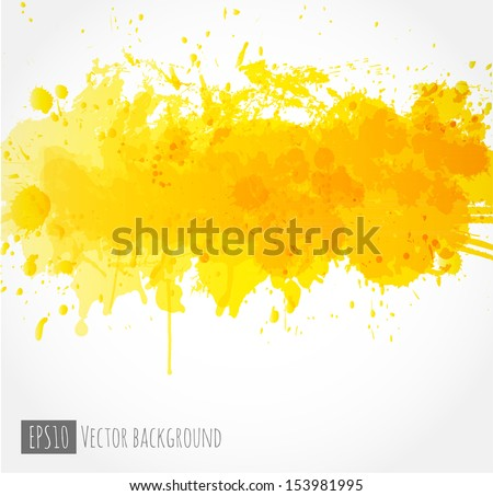 Big bright yellow splash on white background. Vector illustration. Grunge background with place for your text.