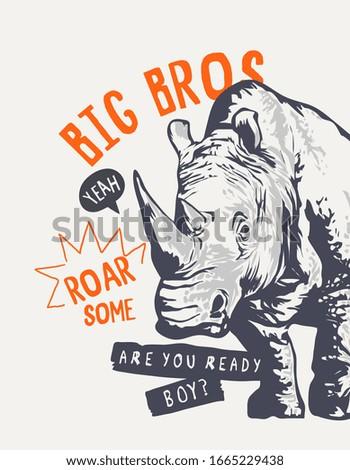 big bro slogan with rhino illustration Сток-фото ©