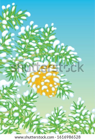 Big brown cone hanging on a snow-covered green prickly fir-tree branch on a cold winter day, vector cartoon illustration